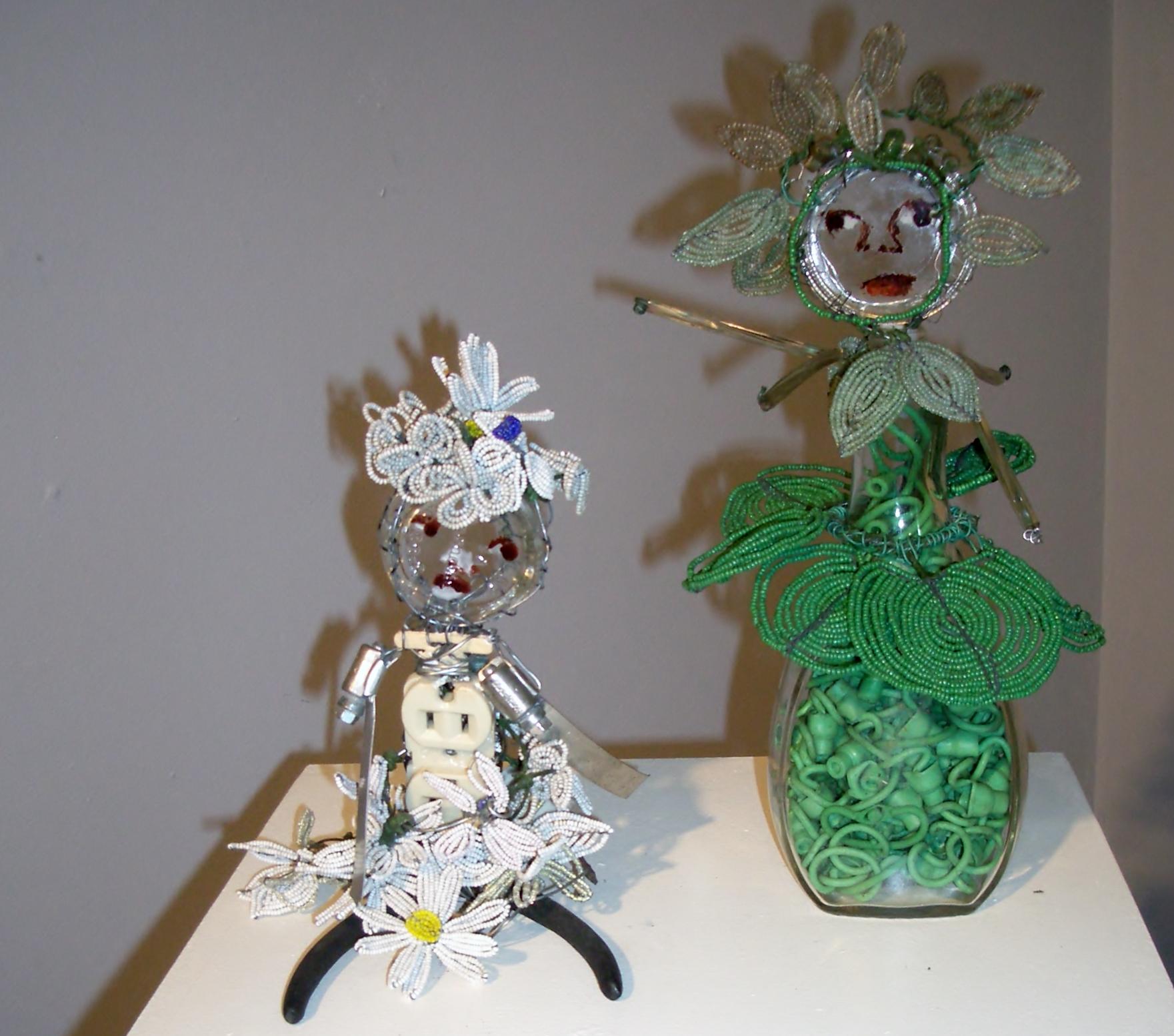 Beaded Flower Child 1 and 2 Francine Seders Gallery Marita Dingus art opening  IMGP9709