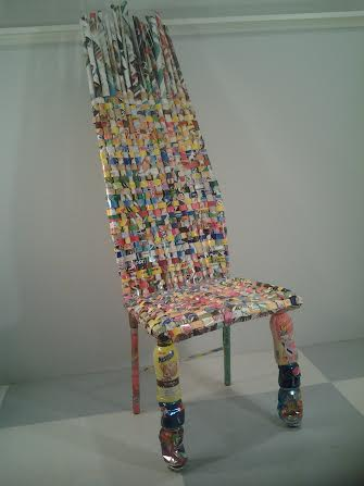 """Cheerios Chair"" by Sari Israel woven cardboard cereal boxes"