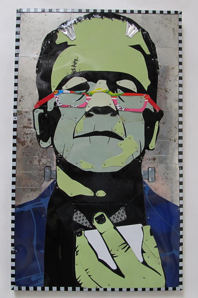 Frankenstein Checks a Text by Jenny Fillius Recycled Tin