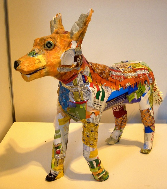 Fox recycled art sculpture by Michele Reader