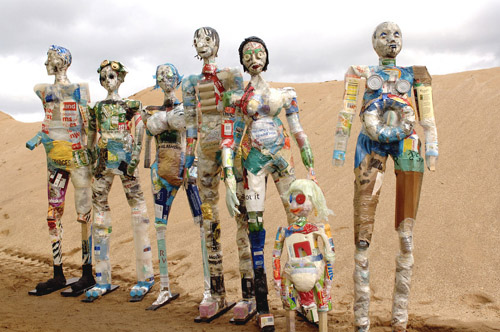 Seven Wasted Men recycled art sculpture by Michele Reader