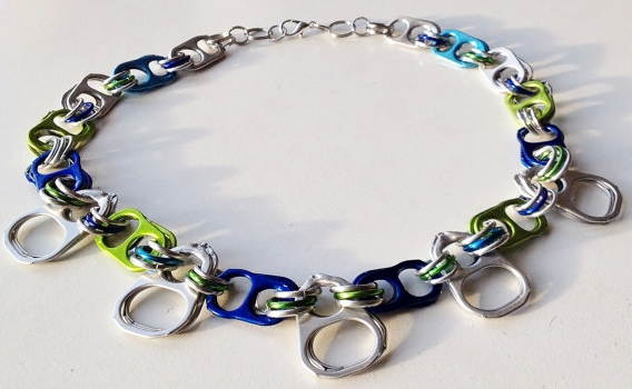"""junk jewelry"" by Ruby Re-Usable, made with cat food can pull tabs and pop tops"