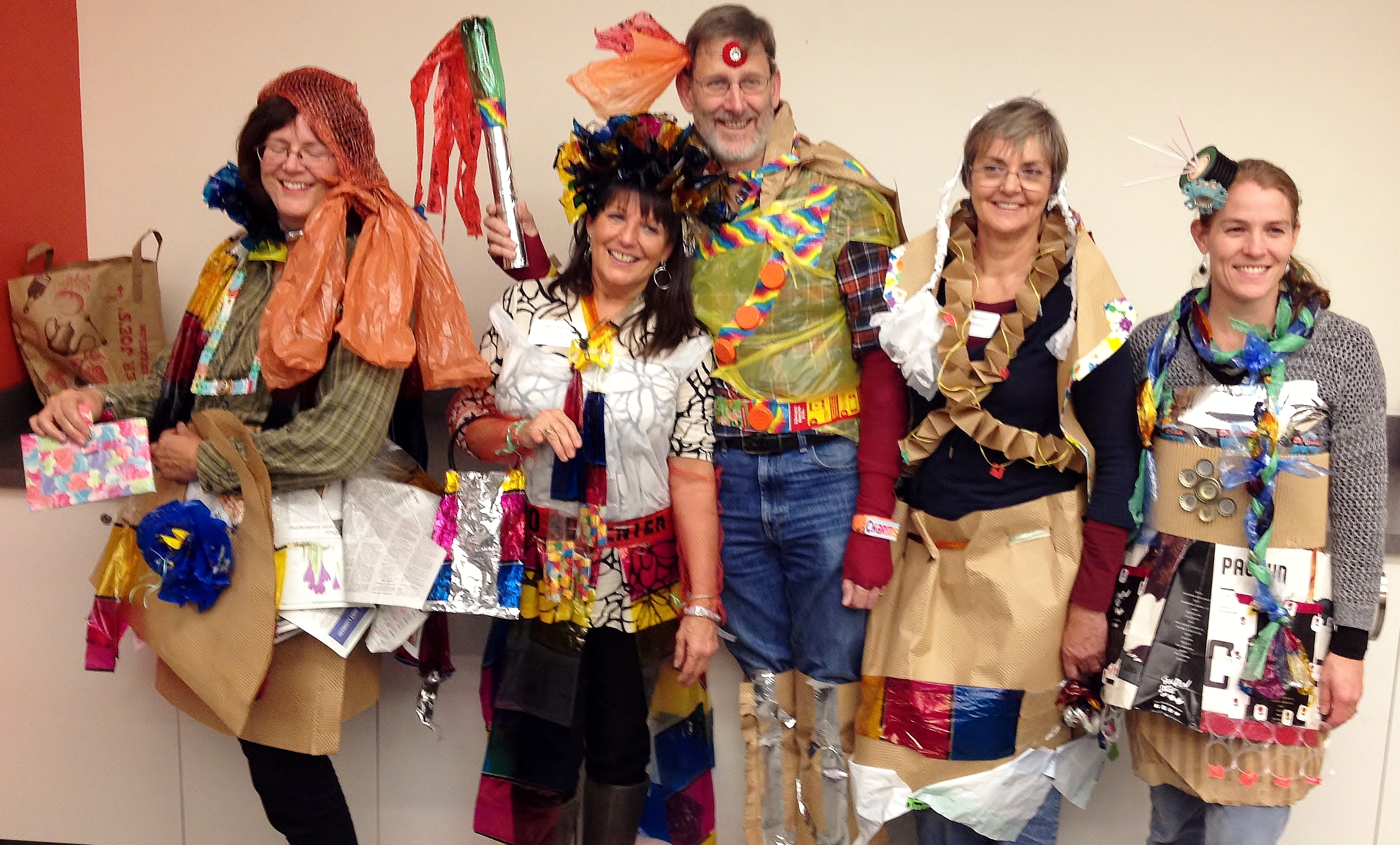 Trash Fashion workshop models at the Schack Art Center November 2014