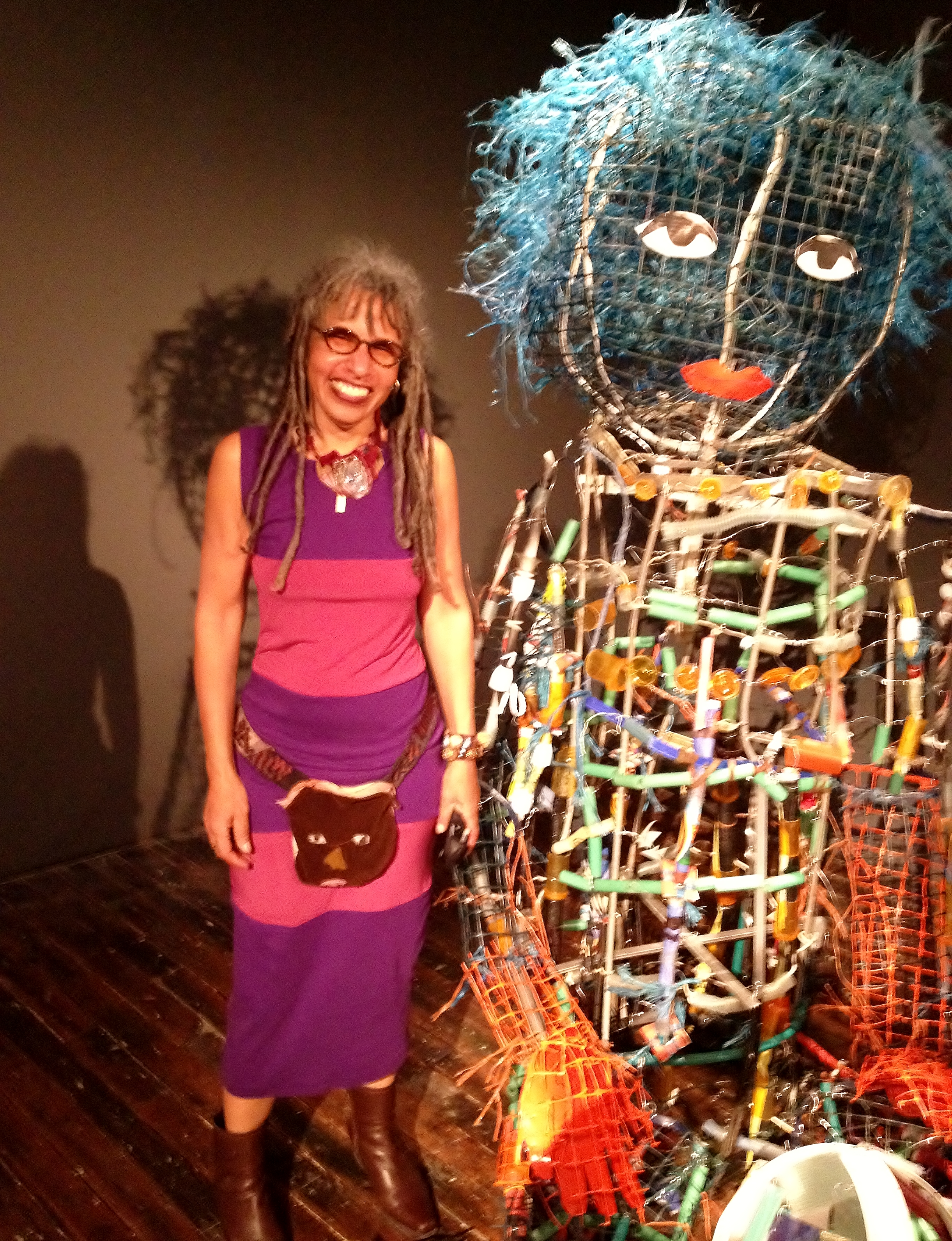 "Marita Dingus with ""Big Sister"" at Traver Gallery 2015"