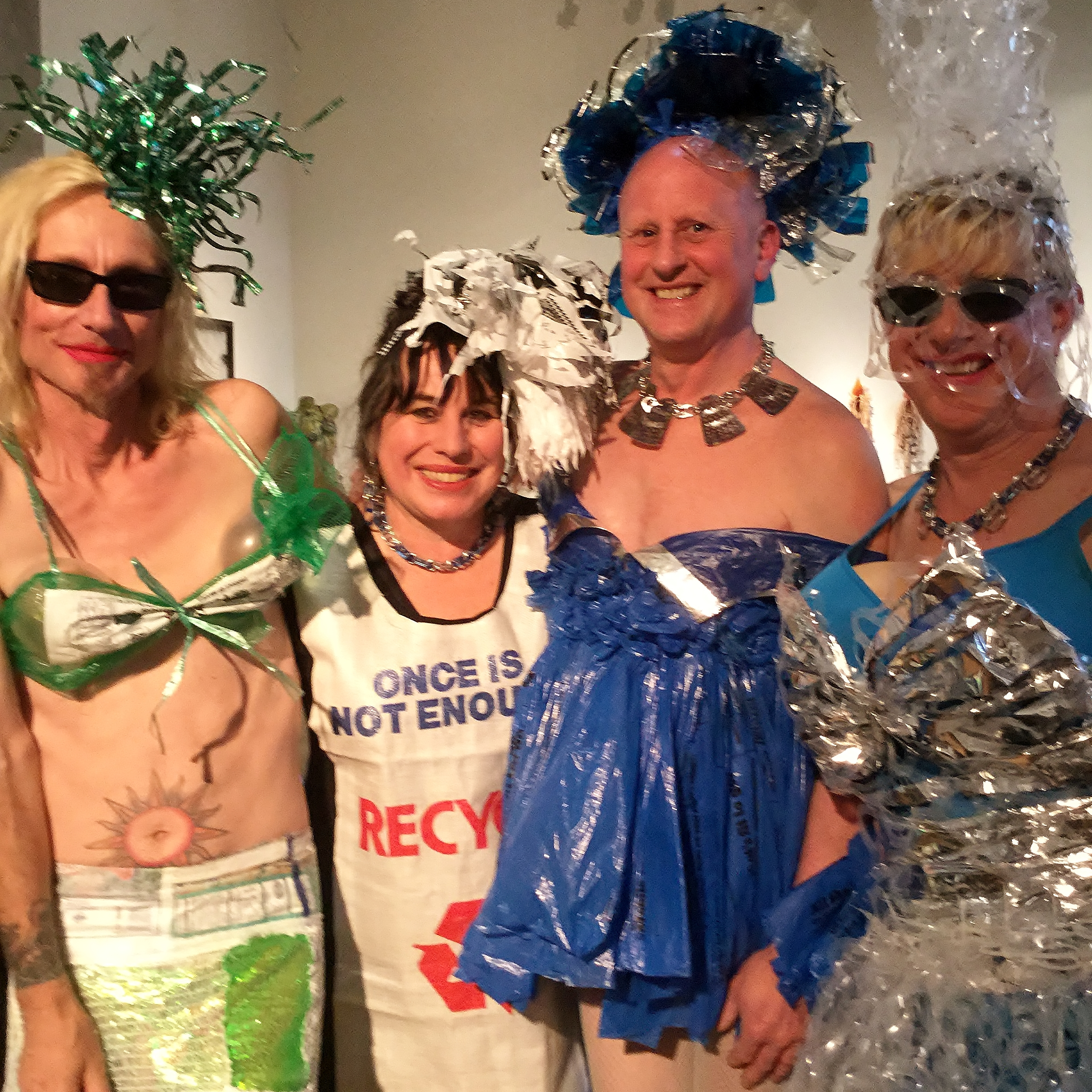 "Lana Landfill, Ruby Re-Usable, Lova Landfill, and  Lena Landfill Lana is wearing ""Go-go Organic,"" Lova is in ""Plastic Bag Blues,"" and Lena is modeling ""Six-pack Princess,"" all designed by Ruby"