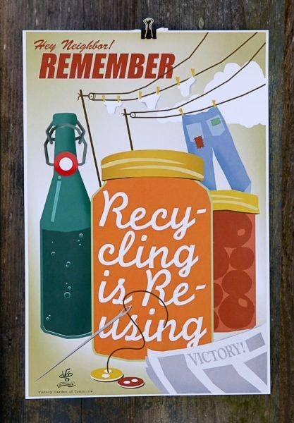 Recycling Is Reusing poster designed by Joe Wirtheim